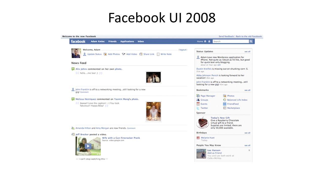 Facebook UI 2008