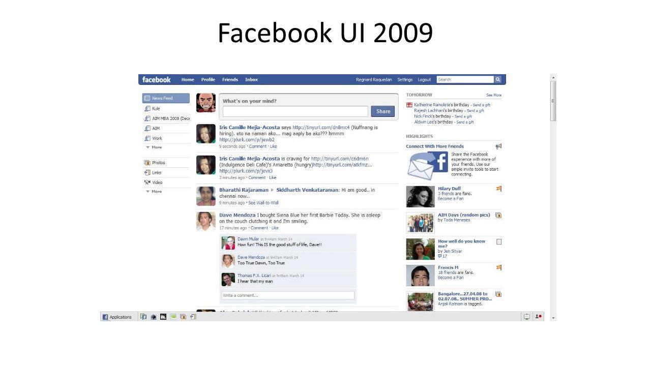 Facebook UI 2009