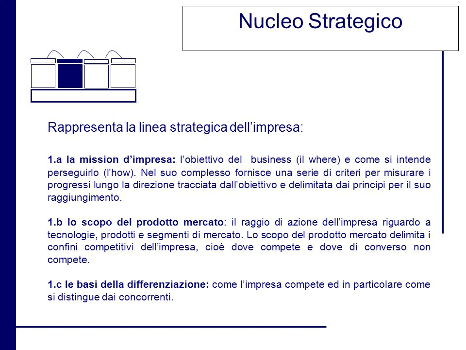 Nucleo Strategico Rappresenta la linea strategica dell'impresa: