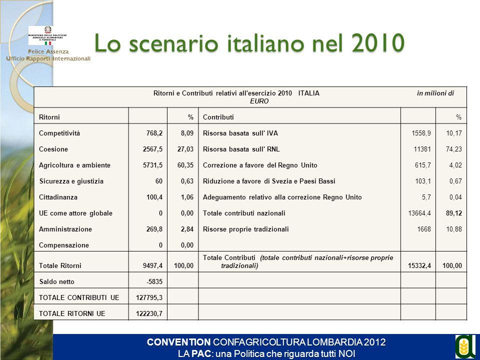 Lo scenario italiano nel 2010