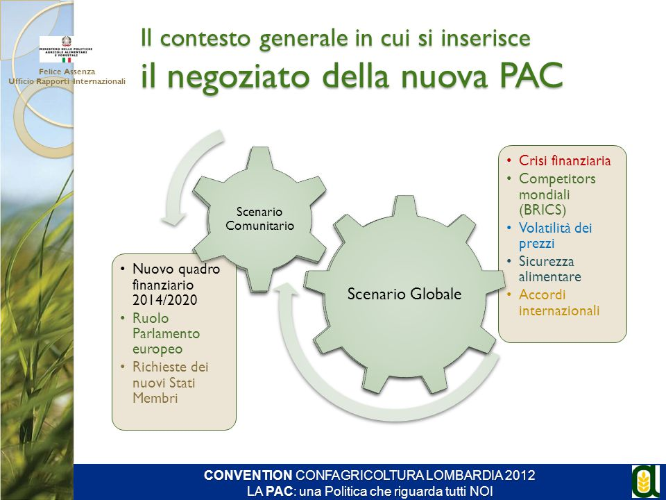 Il contesto generale in cui si inserisce il negoziato della nuova PAC
