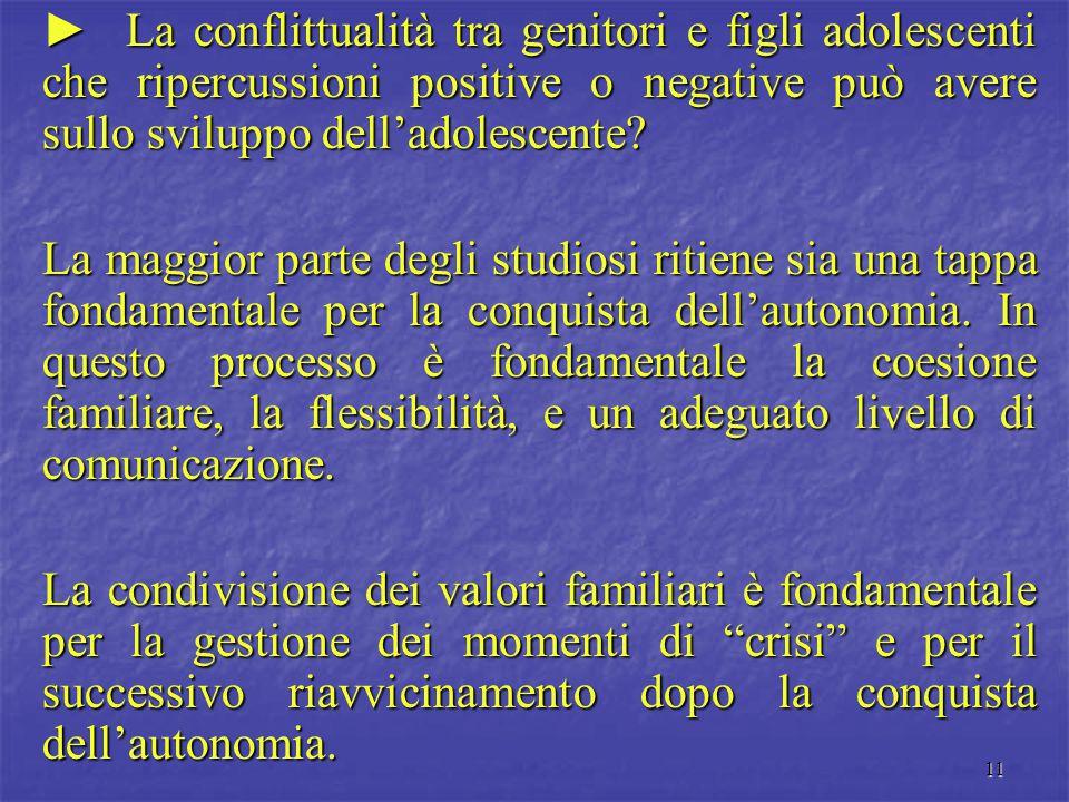 ► La conflittualità tra genitori e figli adolescenti che ripercussioni positive o negative può avere sullo sviluppo dell'adolescente