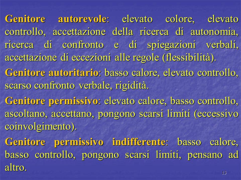 Genitore autorevole: elevato colore, elevato controllo, accettazione della ricerca di autonomia, ricerca di confronto e di spiegazioni verbali, accettazione di eccezioni alle regole (flessibilità).