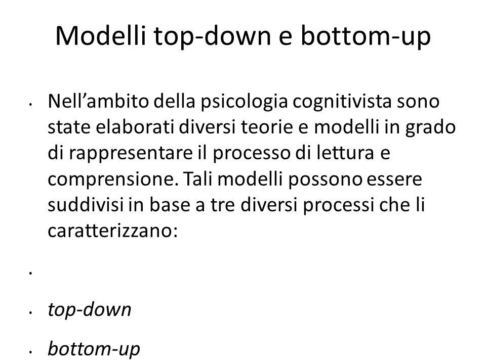 Modelli top-down e bottom-up