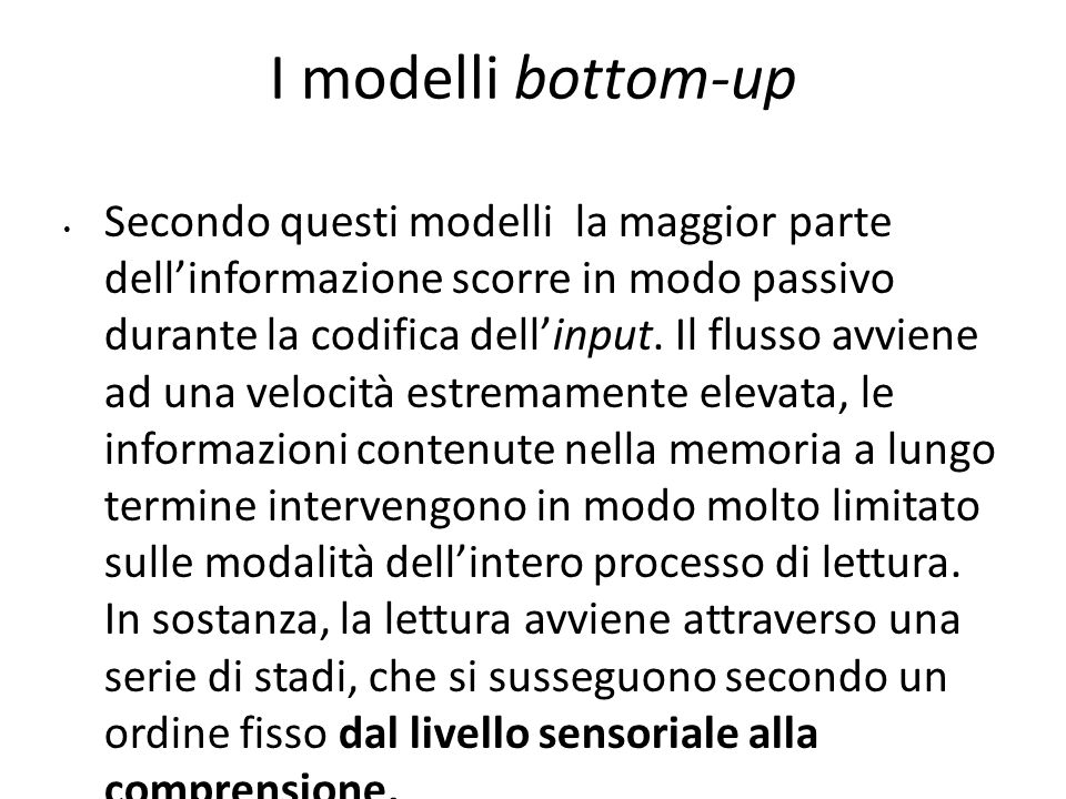 2020 I modelli bottom-up.