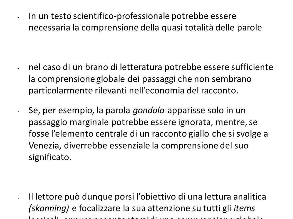 4545 In un testo scientifico-professionale potrebbe essere necessaria la comprensione della quasi totalità delle parole.
