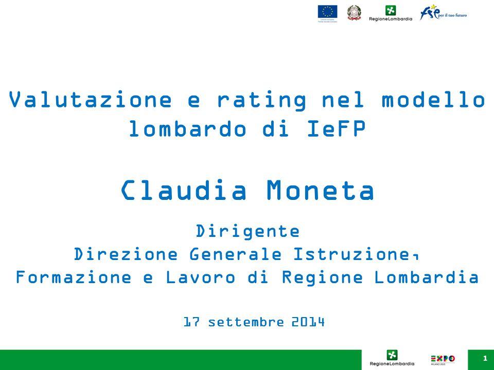 Claudia Moneta Valutazione e rating nel modello lombardo di IeFP