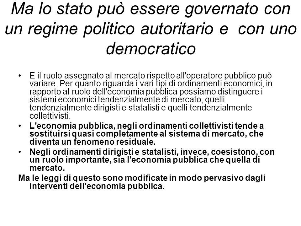 Ma lo stato può essere governato con un regime politico autoritario e con uno democratico