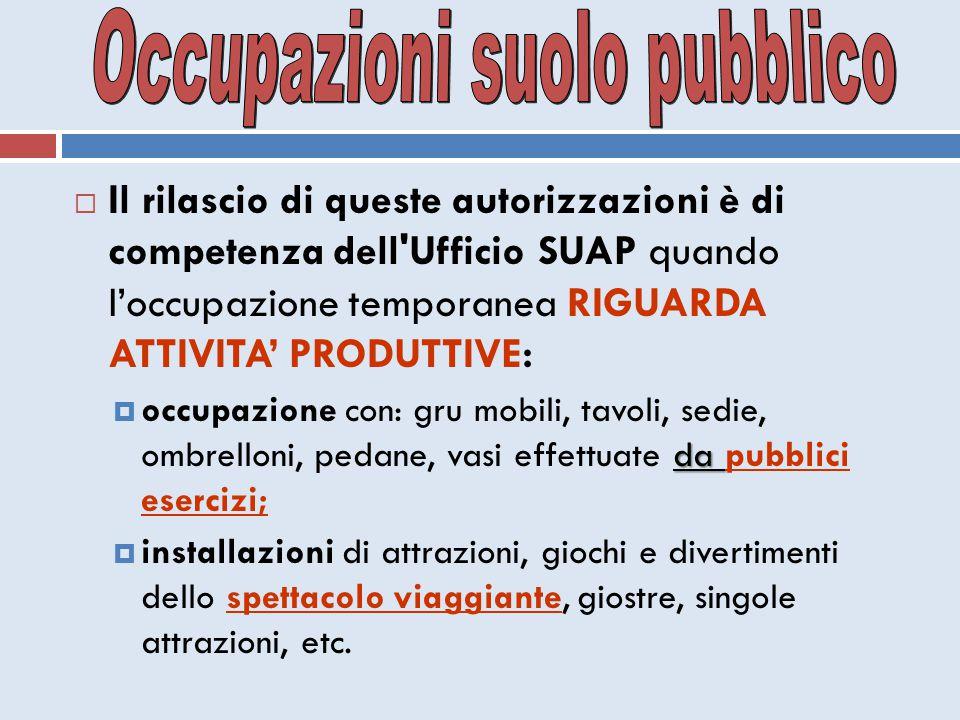 Occupazioni suolo pubblico