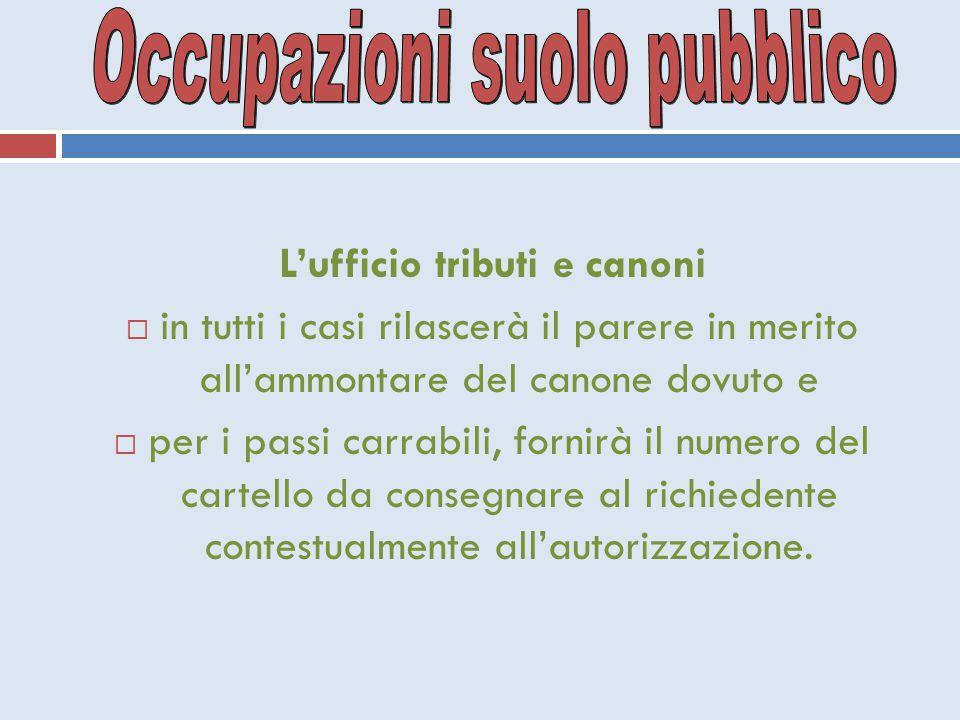 Occupazioni suolo pubblico L'ufficio tributi e canoni