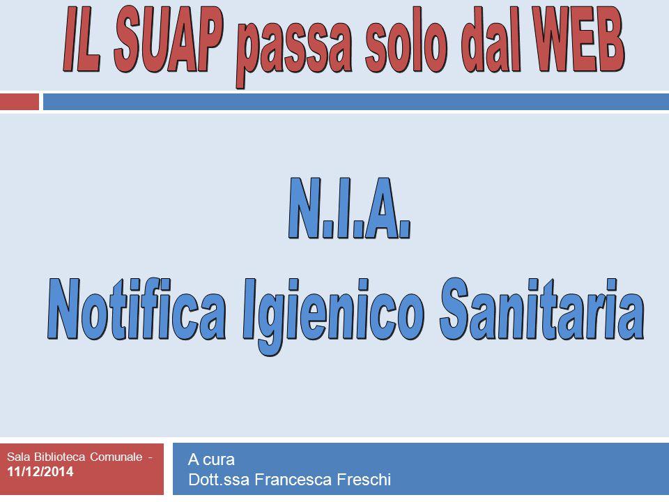 IL SUAP passa solo dal WEB Notifica Igienico Sanitaria