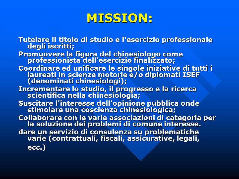 MISSION: Tutelare il titolo di studio e l esercizio professionale degli iscritti;