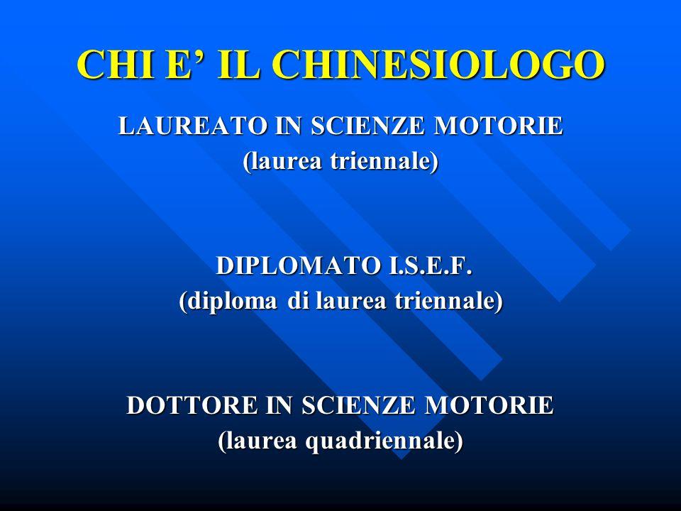 CHI E' IL CHINESIOLOGO LAUREATO IN SCIENZE MOTORIE (laurea triennale)