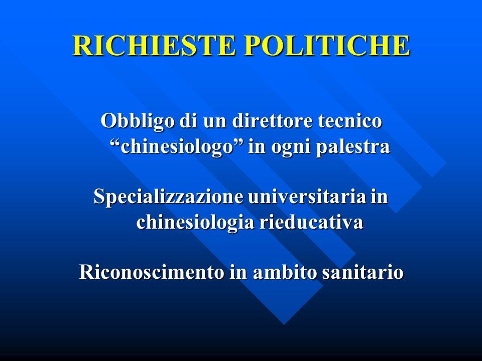 RICHIESTE POLITICHE Obbligo di un direttore tecnico chinesiologo in ogni palestra. Specializzazione universitaria in chinesiologia rieducativa.