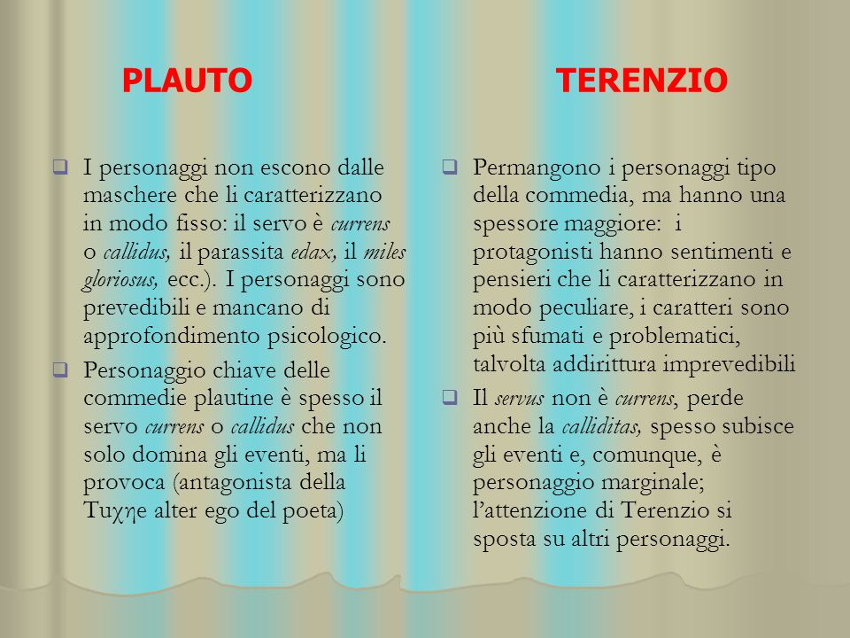 PLAUTO TERENZIO