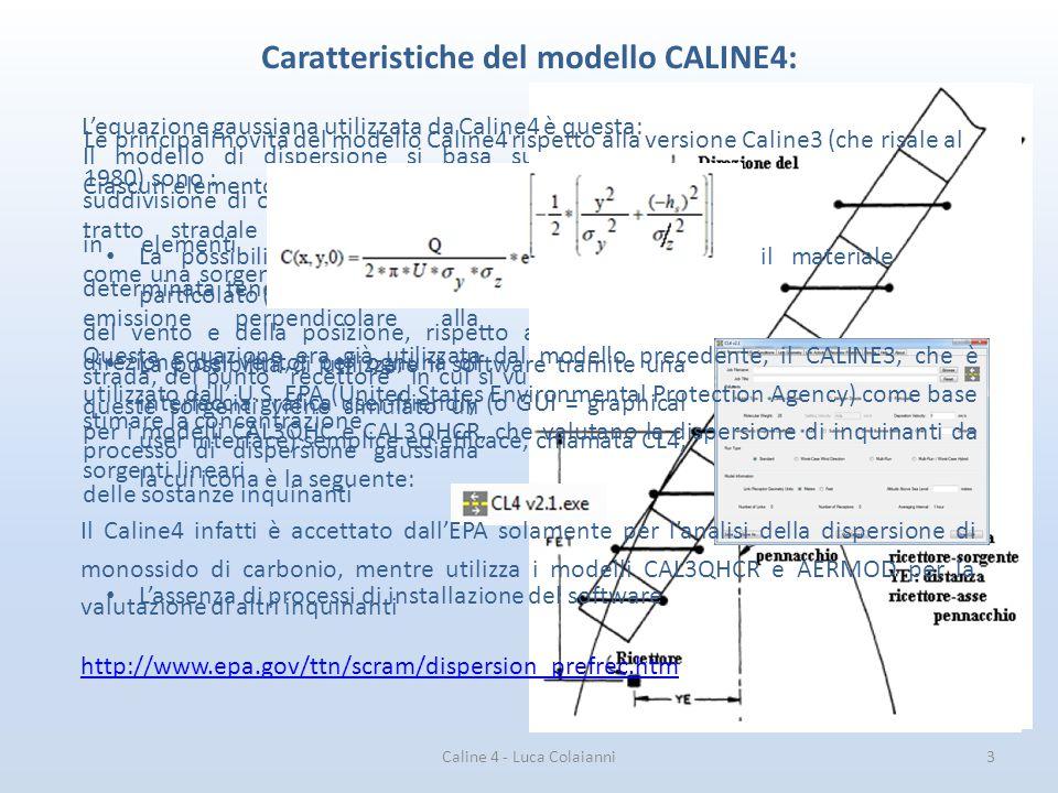 Caratteristiche del modello CALINE4: