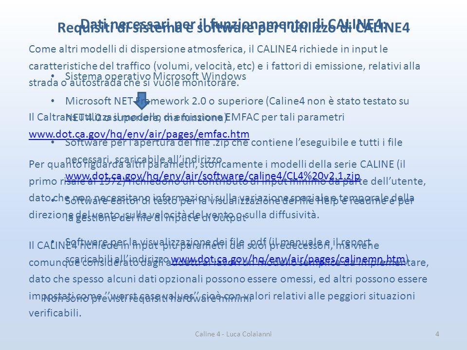 Dati necessari per il funzionamento di CALINE4: