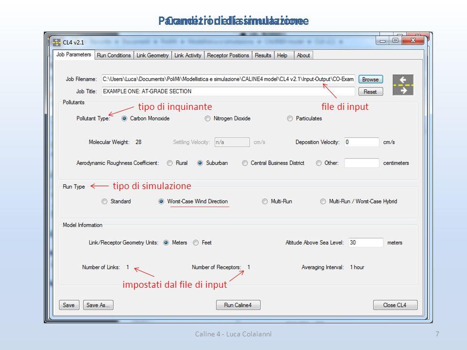 Parametri della simulazione Condizioni di simulazione