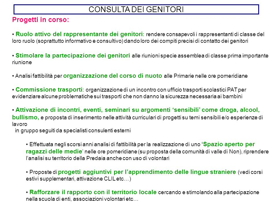 CONSULTA DEI GENITORI Progetti in corso: