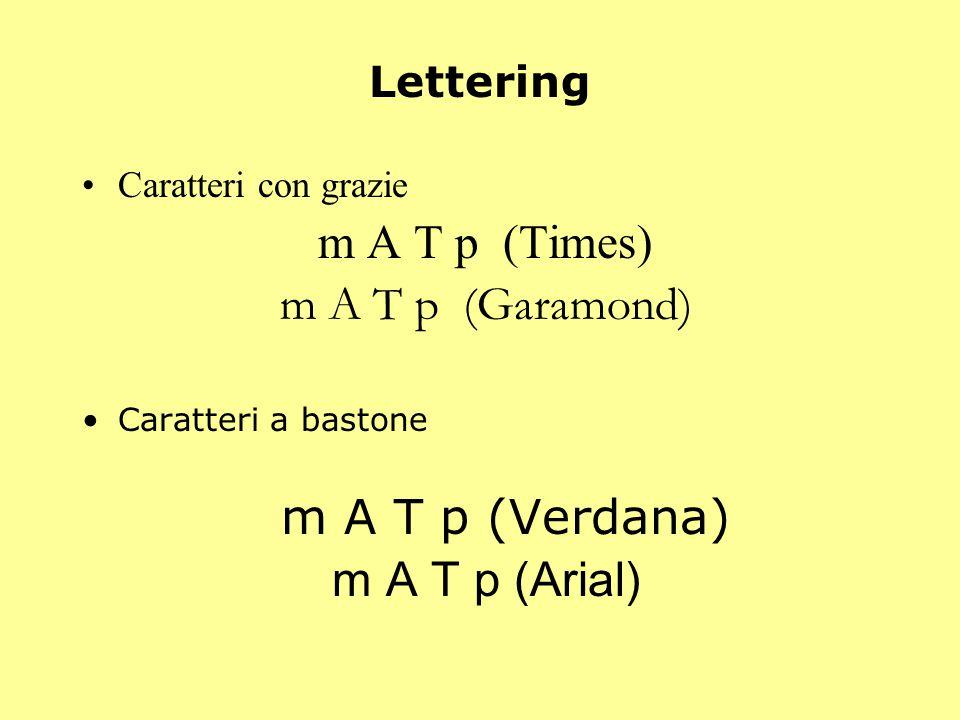 m A T p (Garamond) m A T p (Arial) Lettering m A T p (Times)