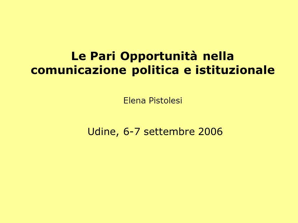 Le Pari Opportunità nella comunicazione politica e istituzionale