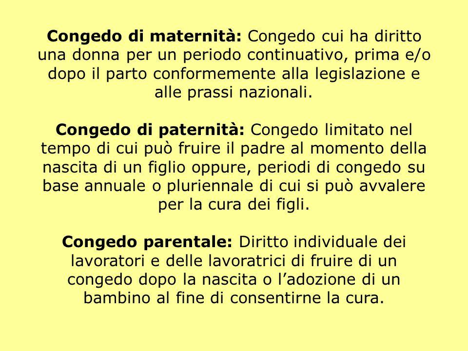 Congedo di maternità: Congedo cui ha diritto una donna per un periodo continuativo, prima e/o dopo il parto conformemente alla legislazione e alle prassi nazionali.