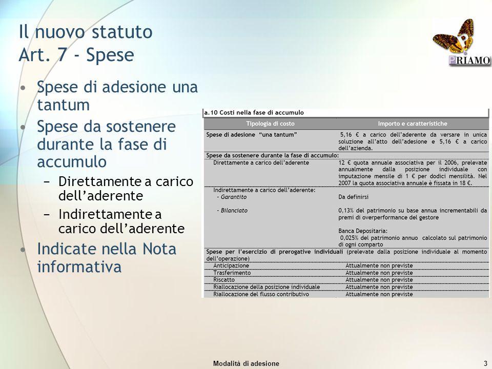 Il nuovo statuto Art. 7 - Spese