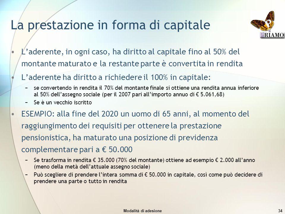La prestazione in forma di capitale