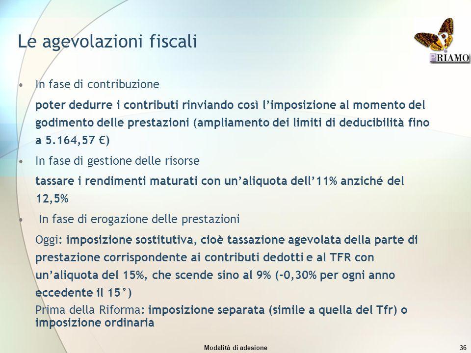 Le agevolazioni fiscali