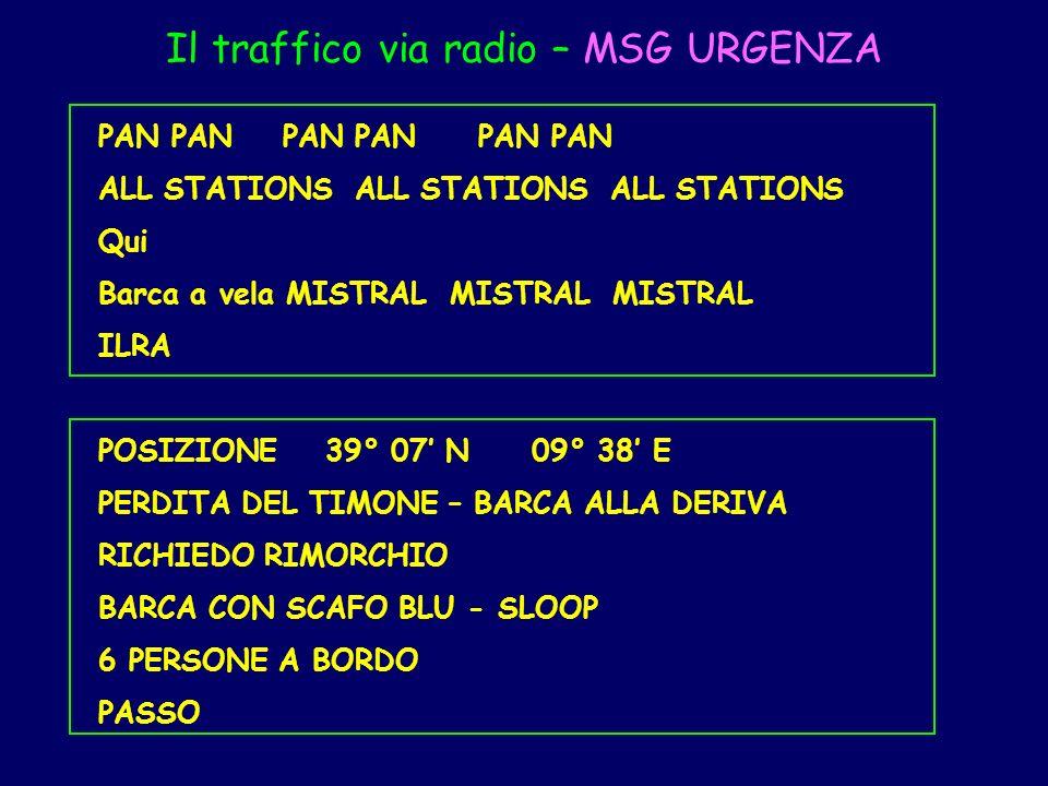 Il traffico via radio – MSG URGENZA