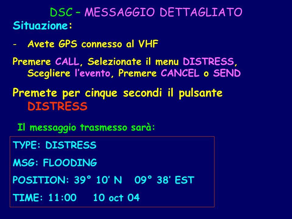 DSC – MESSAGGIO DETTAGLIATO