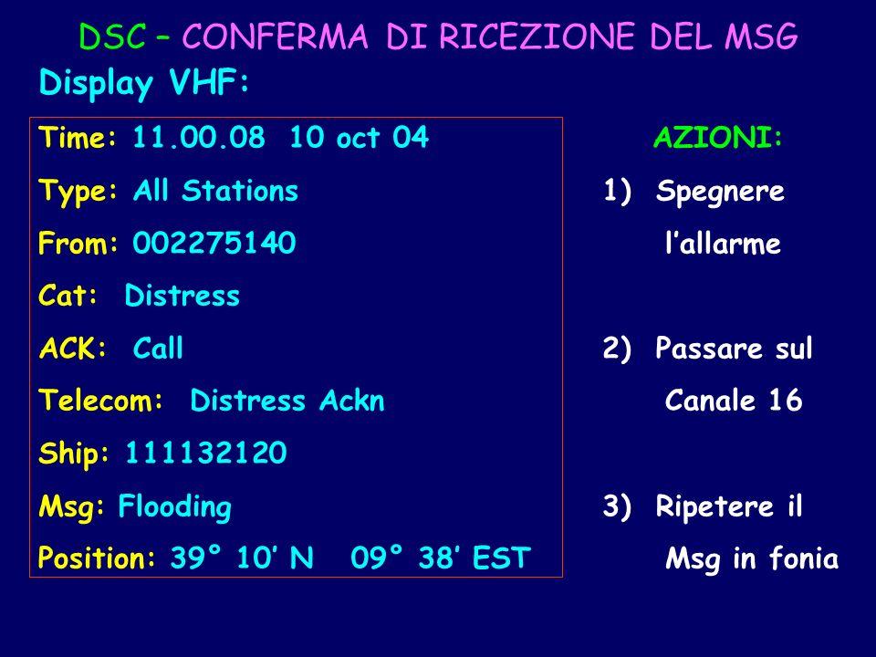 DSC – CONFERMA DI RICEZIONE DEL MSG