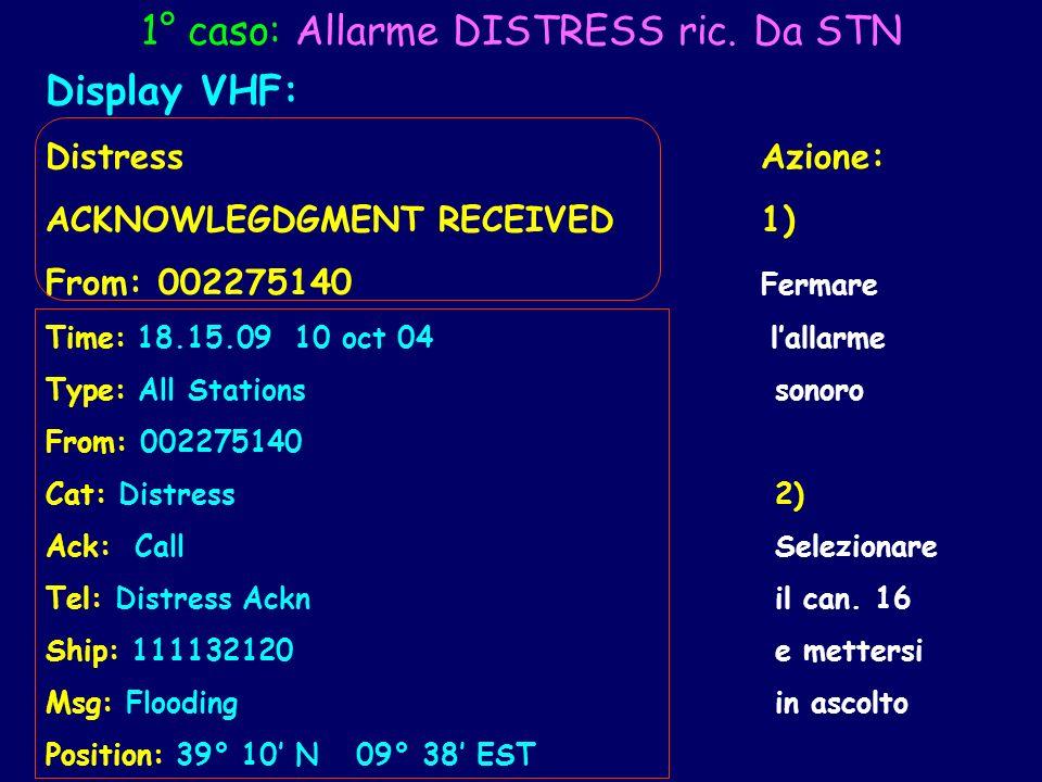 1° caso: Allarme DISTRESS ric. Da STN