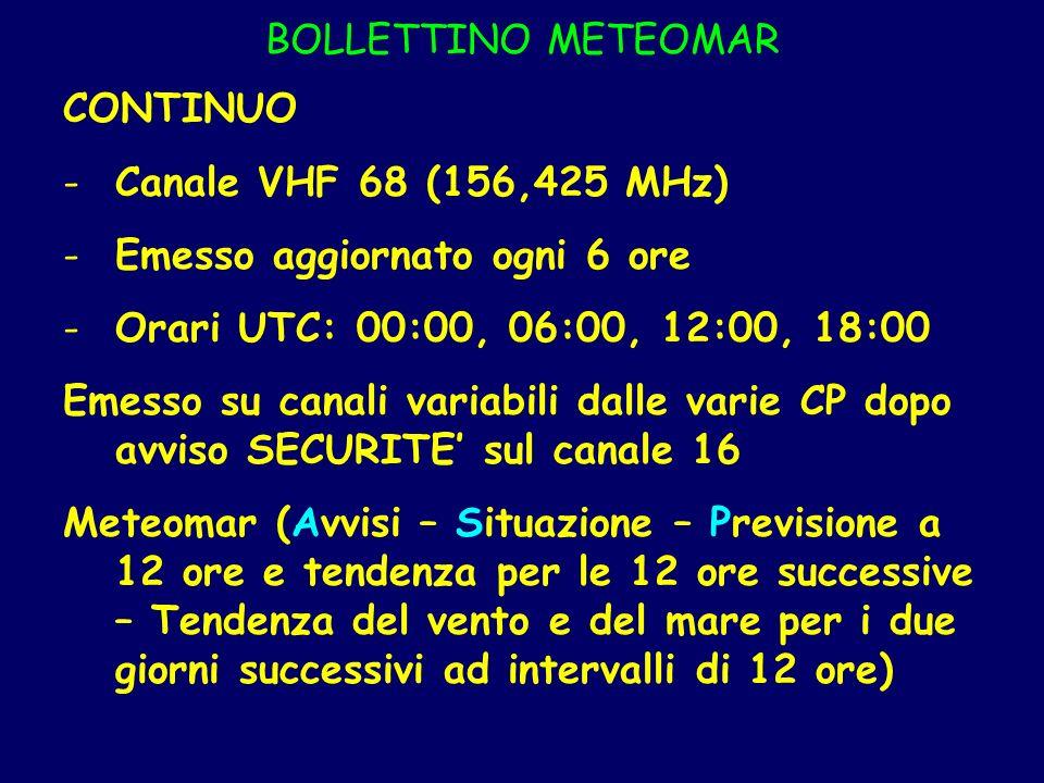 BOLLETTINO METEOMAR CONTINUO. Canale VHF 68 (156,425 MHz) Emesso aggiornato ogni 6 ore. Orari UTC: 00:00, 06:00, 12:00, 18:00.
