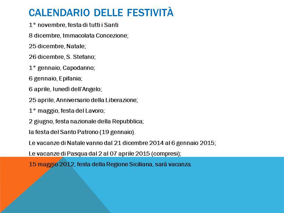CALENDARIO DELLE FESTIVITÀ