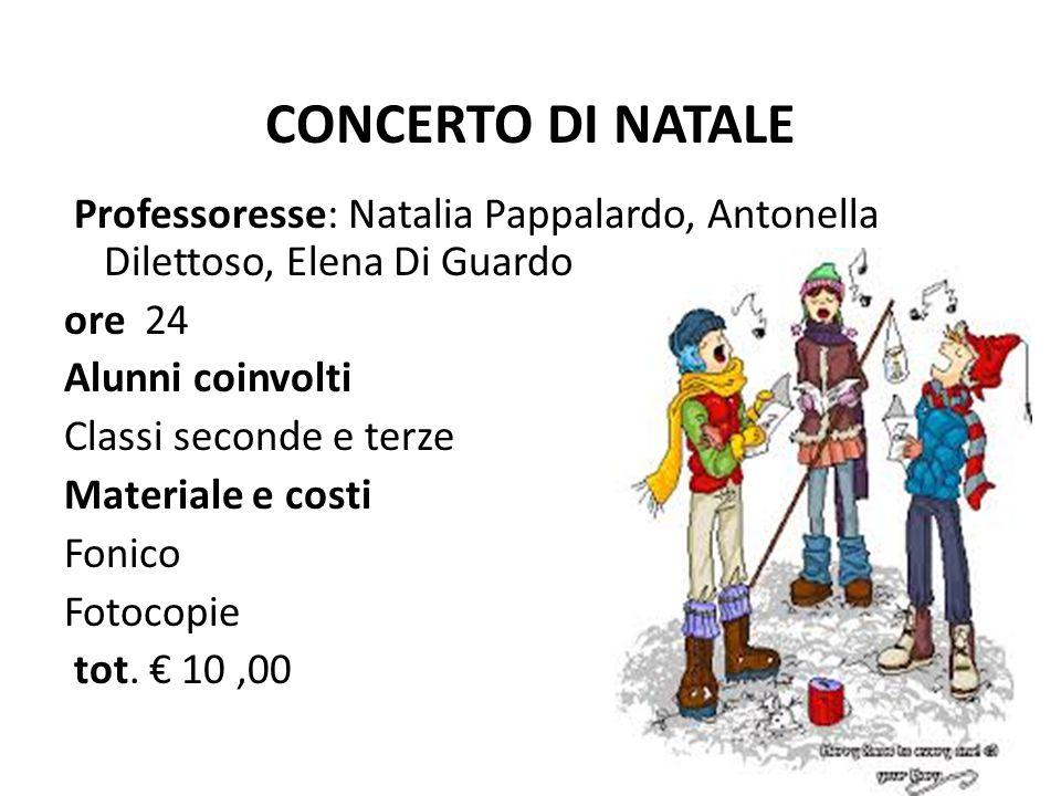 CONCERTO DI NATALE Professoresse: Natalia Pappalardo, Antonella Dilettoso, Elena Di Guardo. ore 24.