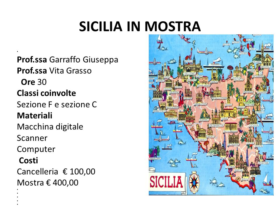 SICILIA IN MOSTRA Prof.ssa Garraffo Giuseppa Prof.ssa Vita Grasso