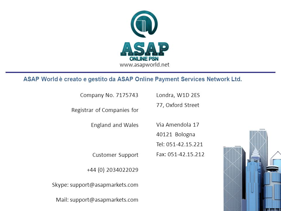 ASAP World è creato e gestito da ASAP Online Payment Services Network Ltd.