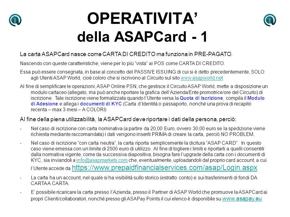 OPERATIVITA' della ASAPCard - 1