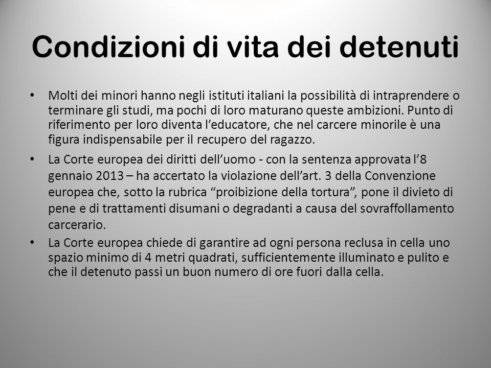 Condizioni di vita dei detenuti