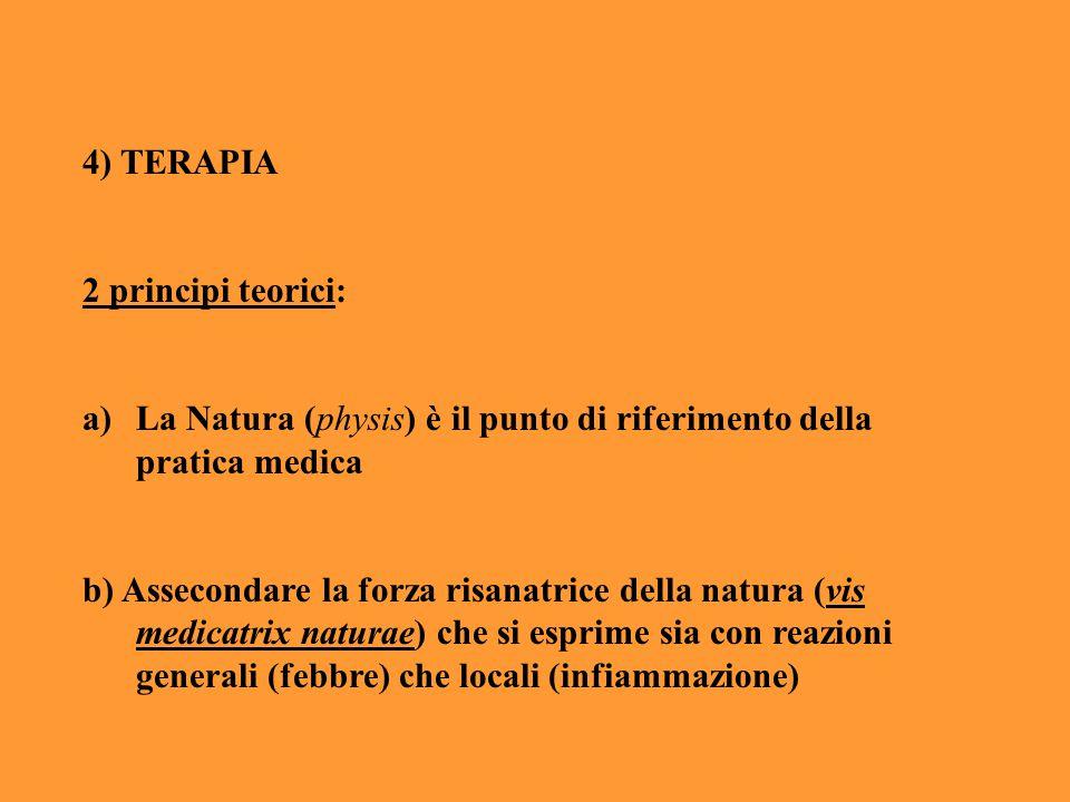 4) TERAPIA 2 principi teorici: La Natura (physis) è il punto di riferimento della pratica medica.
