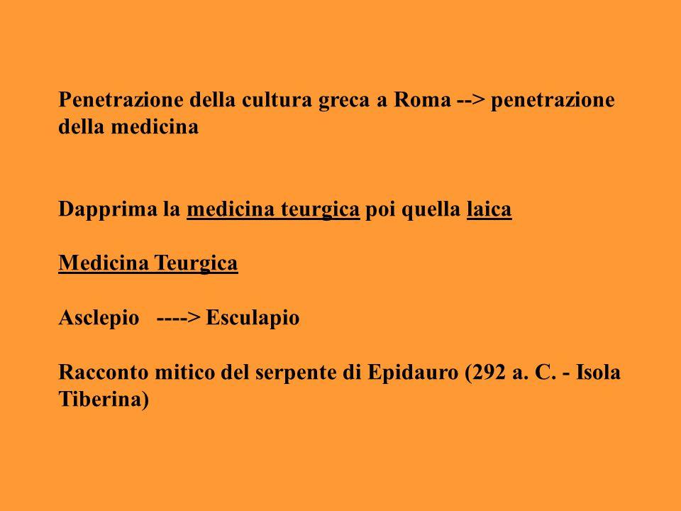 Penetrazione della cultura greca a Roma --> penetrazione della medicina