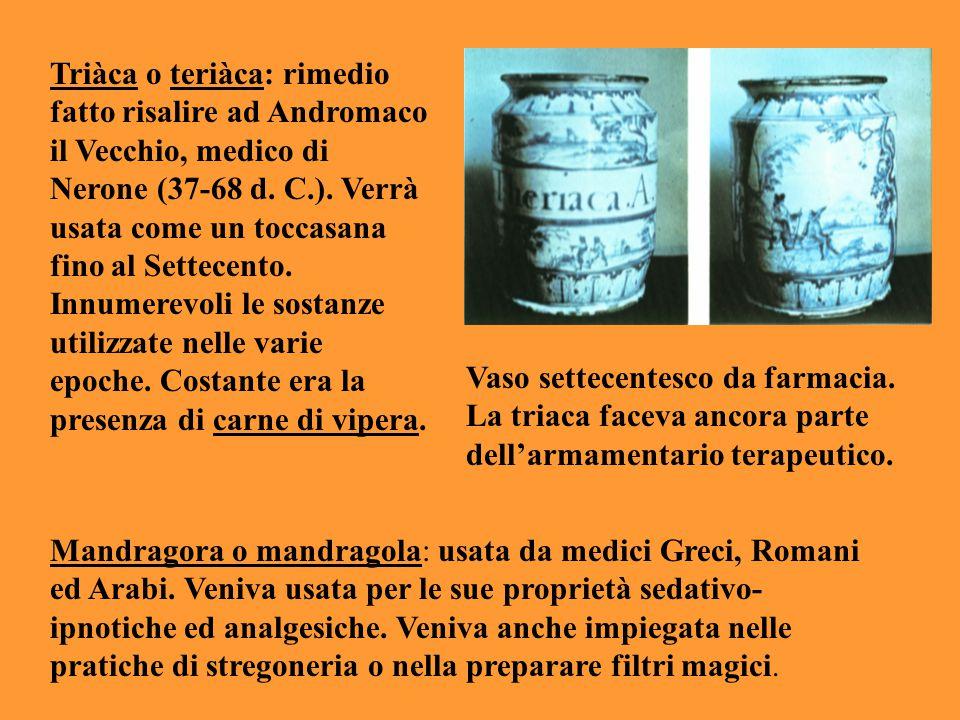 Triàca o teriàca: rimedio fatto risalire ad Andromaco il Vecchio, medico di Nerone (37-68 d. C.). Verrà usata come un toccasana fino al Settecento. Innumerevoli le sostanze utilizzate nelle varie epoche. Costante era la presenza di carne di vipera.