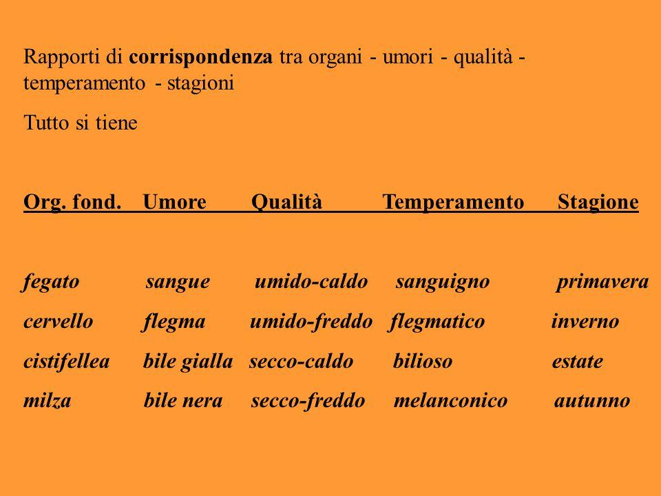 Rapporti di corrispondenza tra organi - umori - qualità - temperamento - stagioni