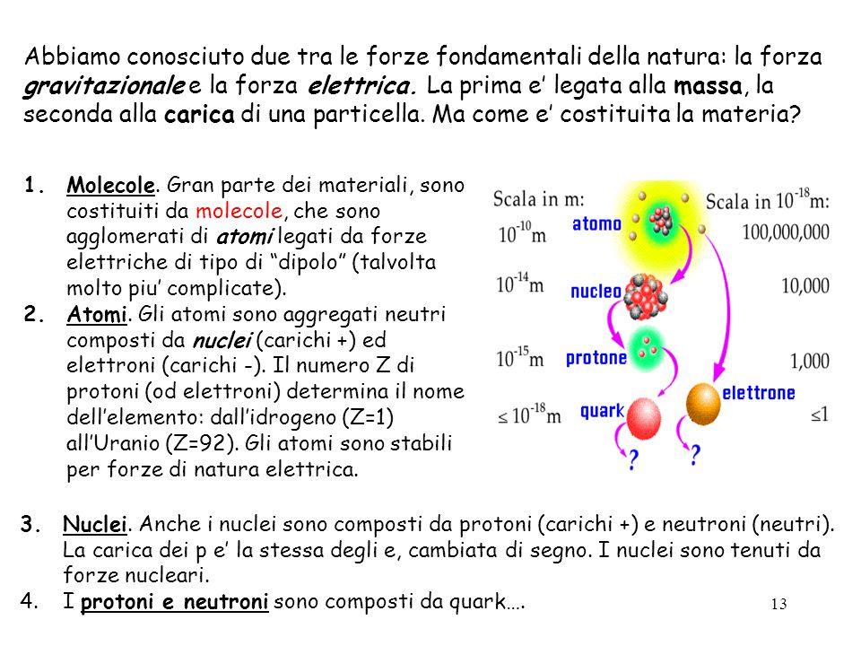 Abbiamo conosciuto due tra le forze fondamentali della natura: la forza gravitazionale e la forza elettrica. La prima e' legata alla massa, la seconda alla carica di una particella. Ma come e' costituita la materia