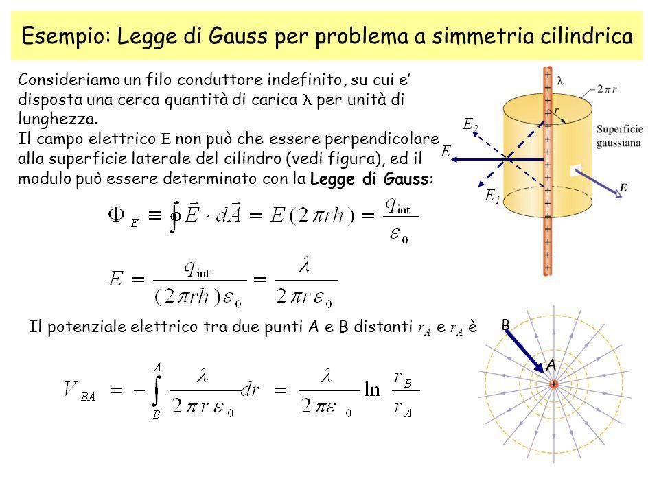 Esempio: Legge di Gauss per problema a simmetria cilindrica