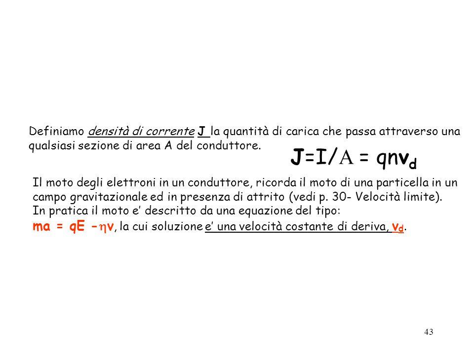 Definiamo densità di corrente J la quantità di carica che passa attraverso una qualsiasi sezione di area A del conduttore.