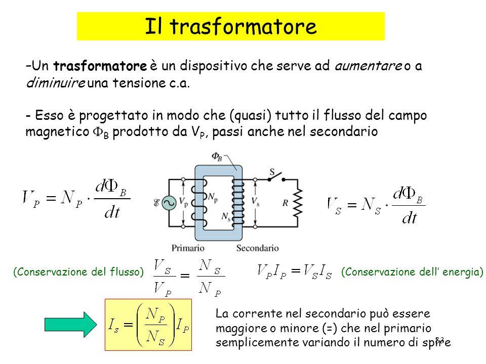 Il trasformatore -Un trasformatore è un dispositivo che serve ad aumentare o a diminuire una tensione c.a.