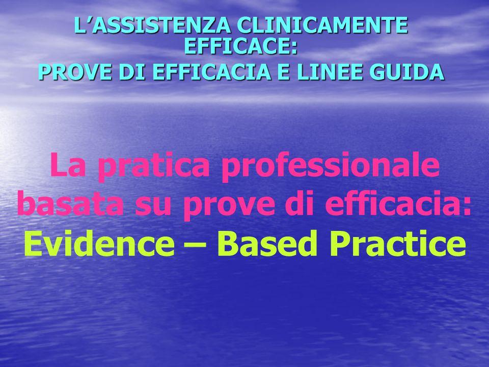 L'ASSISTENZA CLINICAMENTE EFFICACE: PROVE DI EFFICACIA E LINEE GUIDA