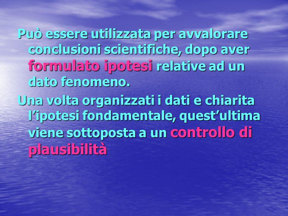 Può essere utilizzata per avvalorare conclusioni scientifiche, dopo aver formulato ipotesi relative ad un dato fenomeno.
